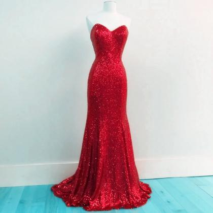 Red Sequins Sweetheart Mermaid Brid..