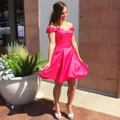 Hot Pink Satin V Neck Short Homecom..