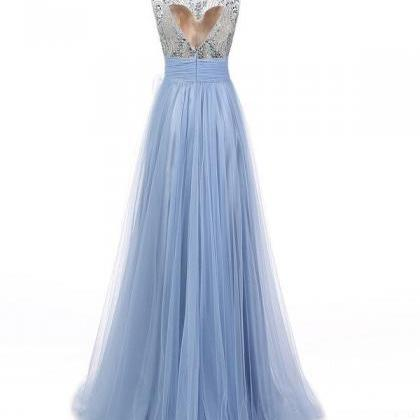 Grey blue tulle see-through beaded ..