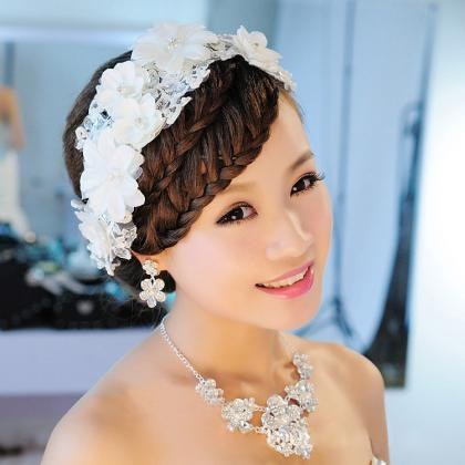 Korean bride headdress handmade lac..