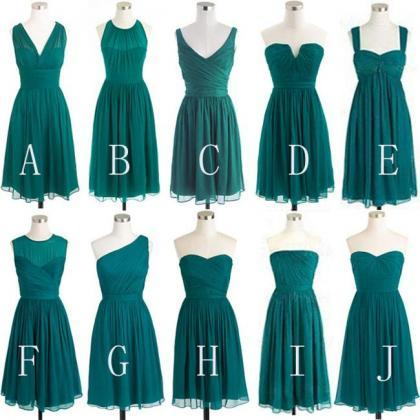 Green Chiffon Short Bridesmaid Dres..