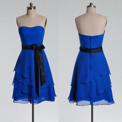 Royal Blue Chiffon Short Bridesmaid..