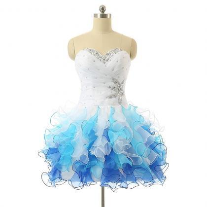 Sweetheart Blue And White Organza P..