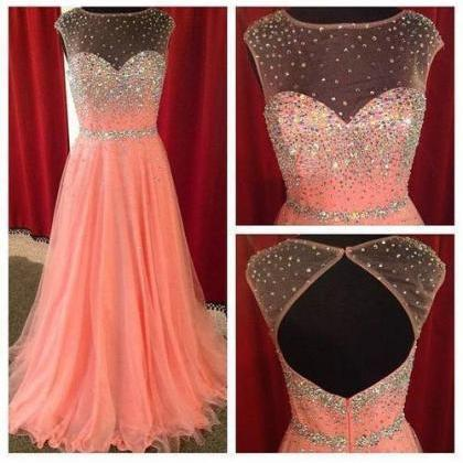 Coral Prom Dresses See Through Neck..