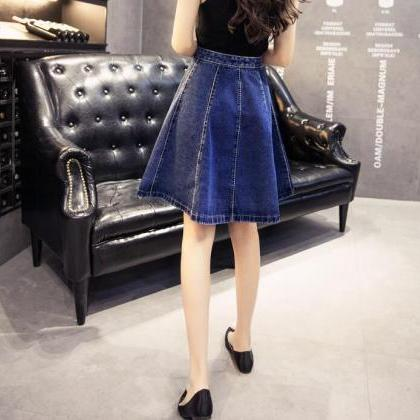 A Line Knee Length Denim Skirt Wome..