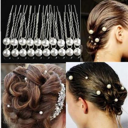 20pcs/pack White Pearl Hair Clips W..