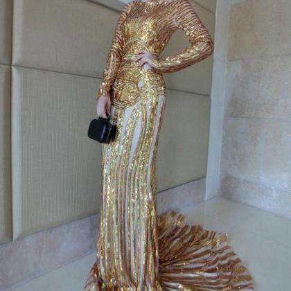 Luxury Gold Mermaid Prom Dresses Lo..