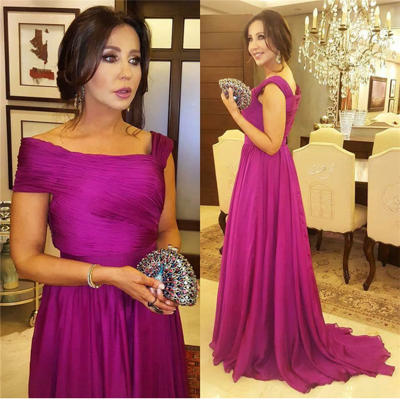 Evening Dress Turkey 2017 Fuchsia Chiffon A Line Long Prom Dresses