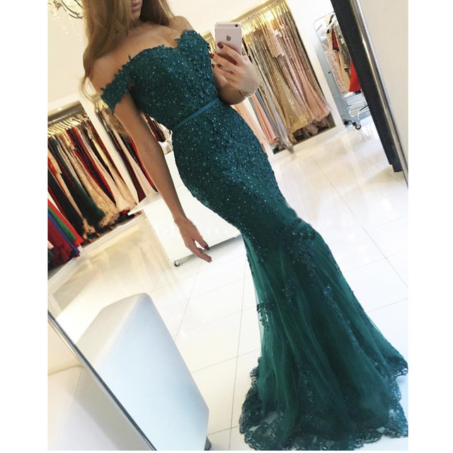 New Off The Shoulder Prom Dresses 2017 Modest Mermaid Style Beaded Sequins Lace Appliques Tulle Formal Evening Gowns Party Dress