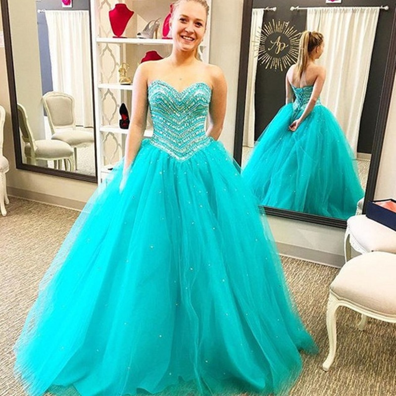 Crystal Ball Gown Quinceanera Dresses 2017 With Beading Tulle Sweet 16 Dresses For 15 Years Prom Party dress