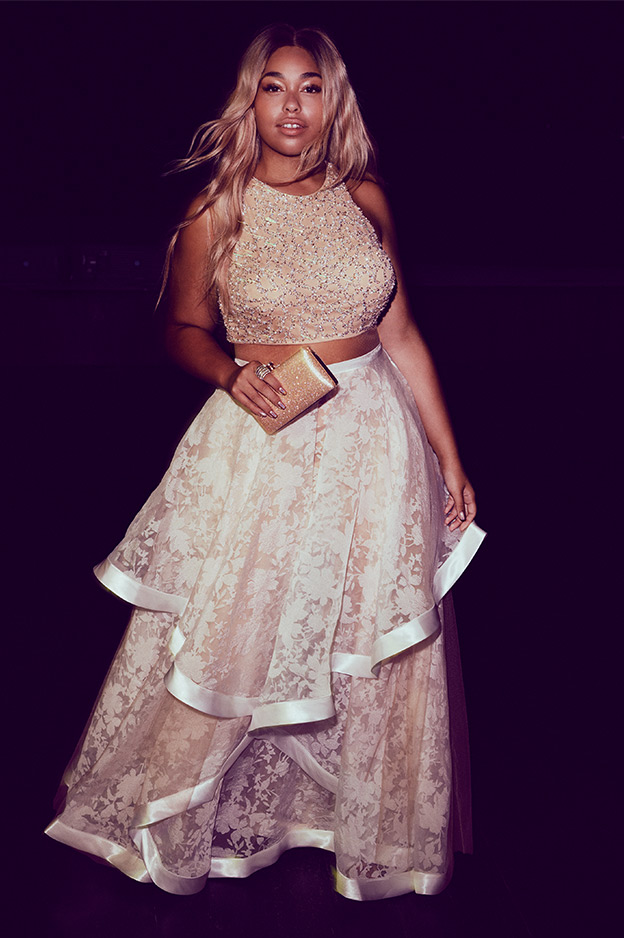 2017 New Two Pieces Prom Dresses Jewel Satin Lace Floor Length Champagne Prom Party Gowns with Sequins Beaded Ruffles Graduation Dress Gowns