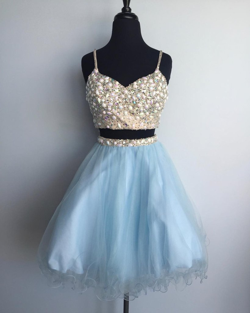 d8daa58f319 Light Blue Tulle Two Pieces Beaded Short Homecoming Dress