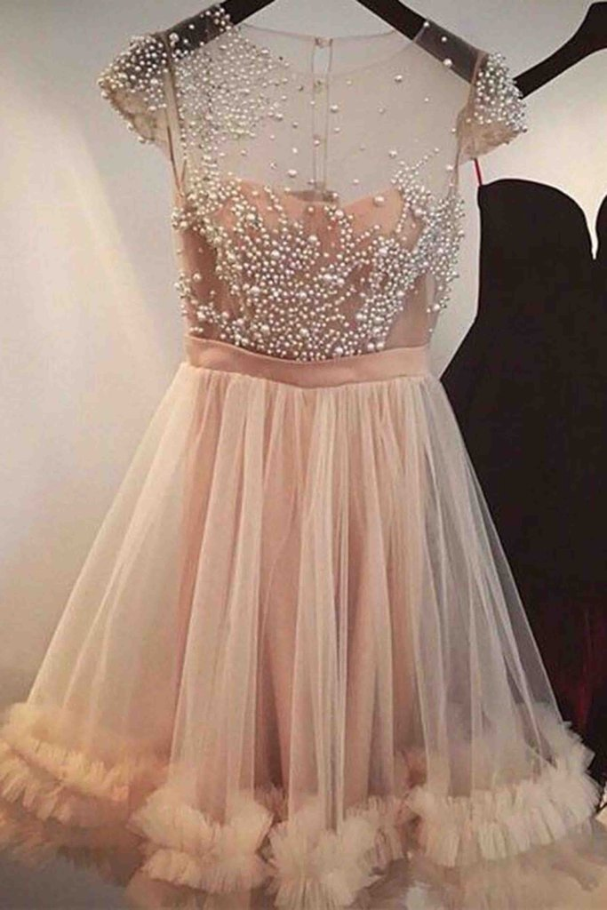Unique design tulle pearl beaded see-through short prom party dress,cute short sleeve champagne homecoming dress,custom made graduation dress gowns