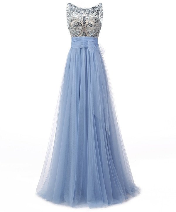 Grey blue tulle see-through beaded crystals prom dress,scoop neck backless a-line long evening dress ,graduation party dress 2017