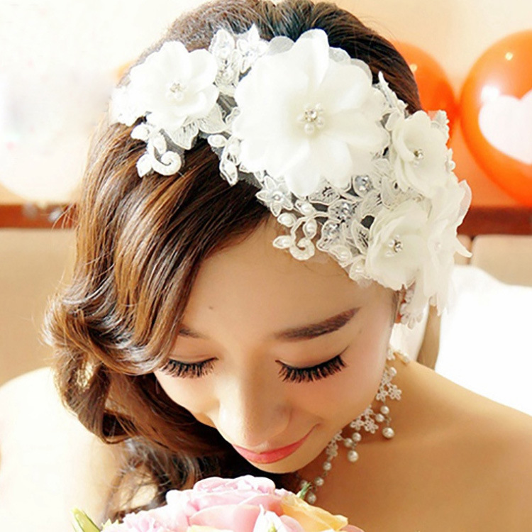 Korean bride headdress handmade lace wedding wedding hair wedding supplies bridal accessories