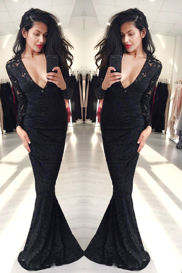 Mermaid Black Long Sleeves Lace Deep V-neck Floor-length Prom Dress ...