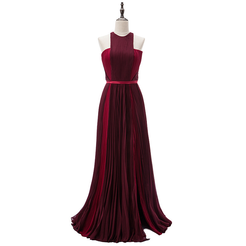 Burgundy Long Celebrity Dresses Red Carpet Dress Halter Crepe Split Runway Fashion Prom Party Dress