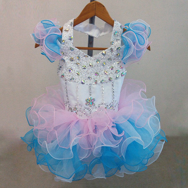 Colorful Organza Mini cupcake flower girl dresses pageant Girl Dresses infant toddler dresses