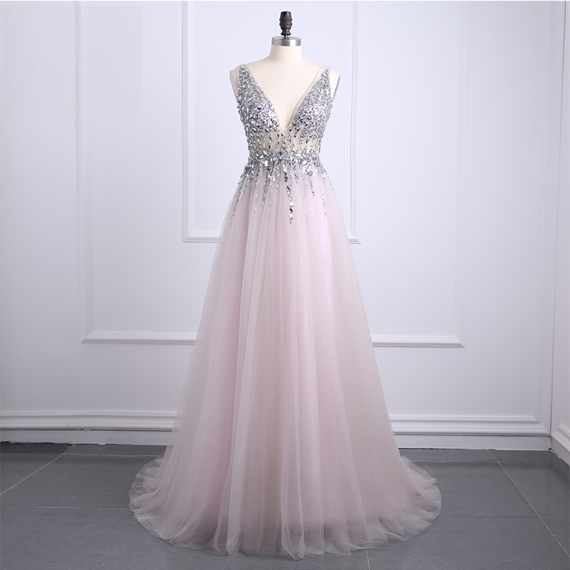0f0090034e Sexy Side Split Prom Dresses 2018 Deep V Neck Backless Bead Crystal Party  Gowns Sleeveless Sweep Train Cheap Tulle Evening Dress
