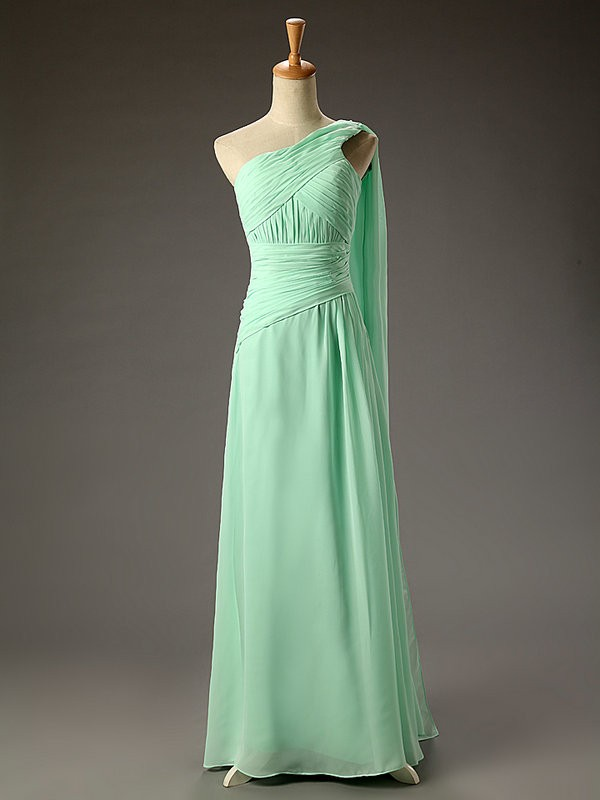 c7abf39ee8453 Simple A-line One Shoulder Chiffon Empire Long Mint Backless Prom Dress  With Pleat Bridesmaid Dress for Wedding Party