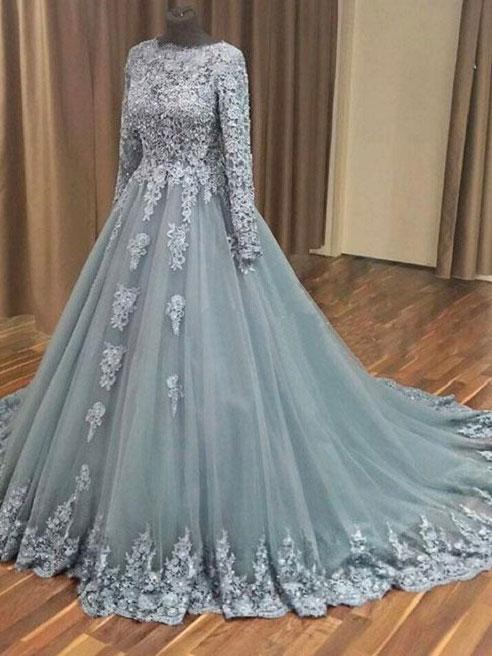 A-line Grey Tulle Lace Appliqued Long Sleeves Wedding Dresses ...