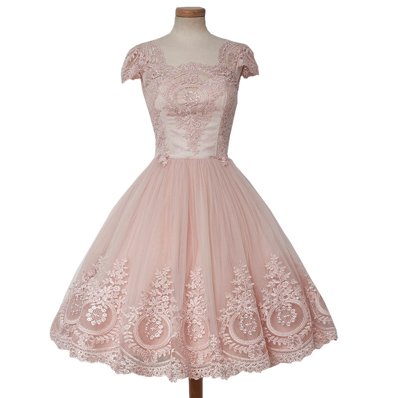 99609f78a7 Gorgeous A-line Cap Sleeve Vintage Lace Short Mini Pink African Prom Dresses  2018 Homecoming