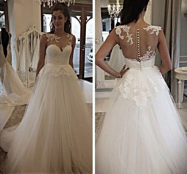 Scoop Illusion Back Covered Buttons Wedding Dress Applique Lace