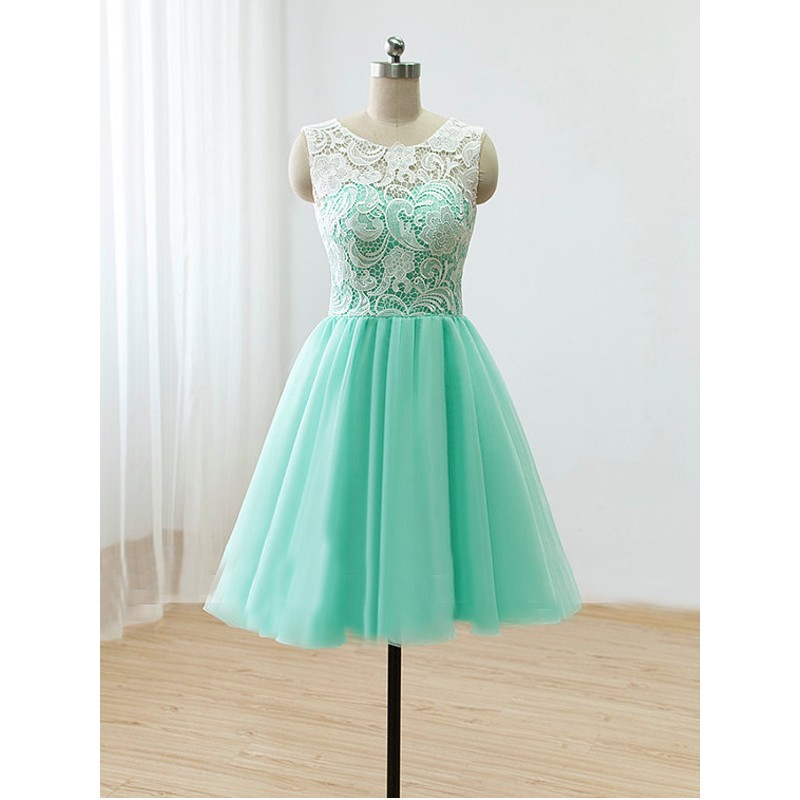 Elegant Scoop Nature Waist A-line Tulle Mint Green Short Prom ...