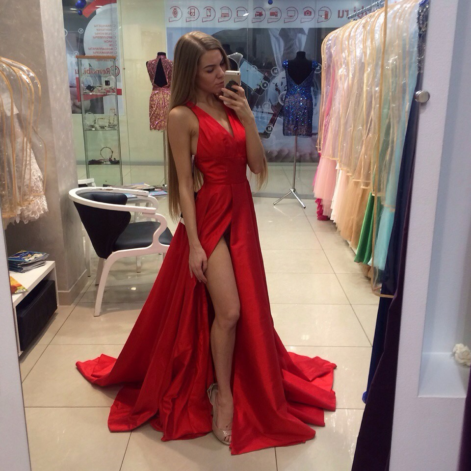 3f5df09d20 2016 New Arrival Red Sexy Prom Dresses Simple A Line V Neck Side Slit Evening  Gowns