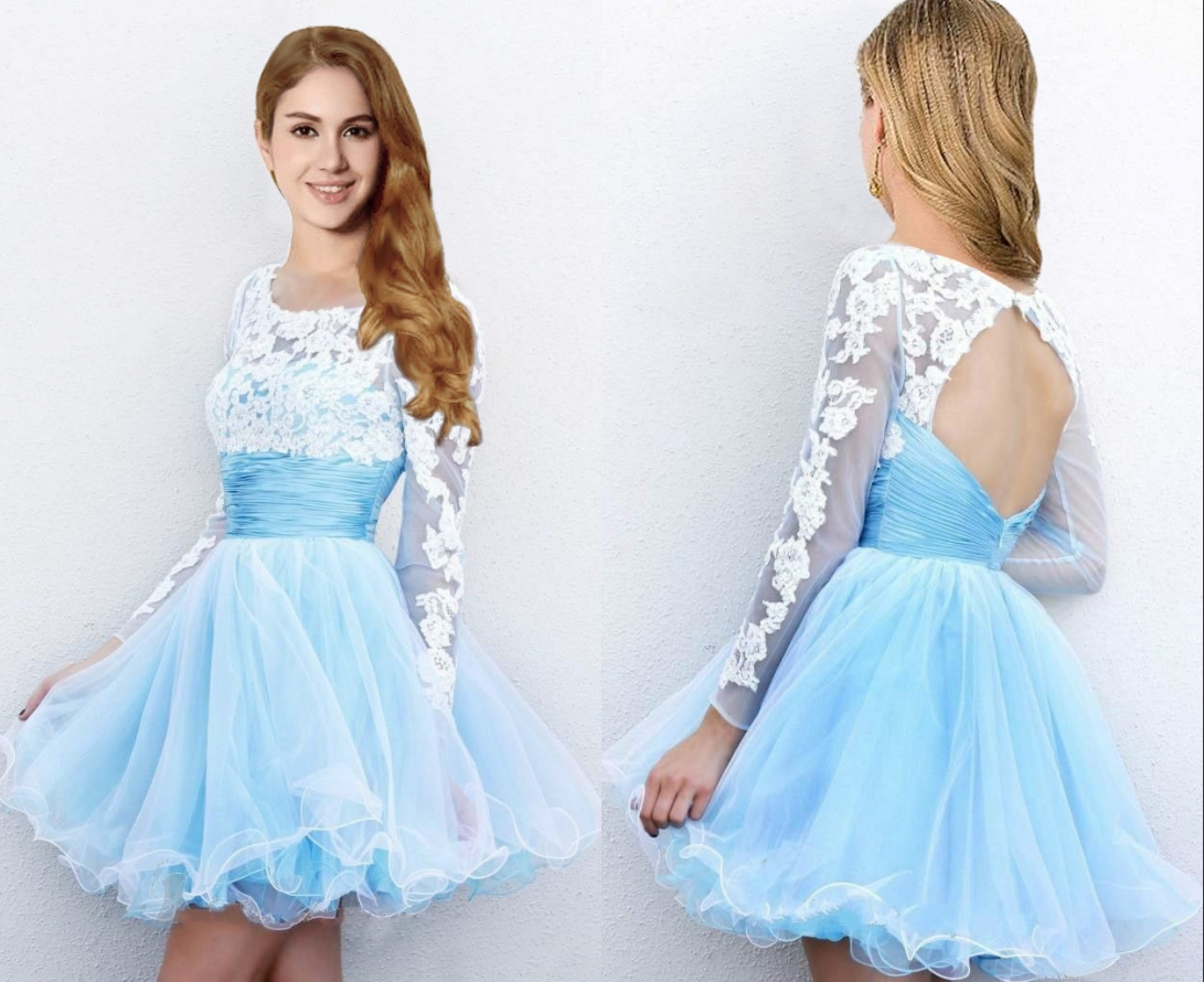 adcc9313e1 Hot Sale Short Mini Light Blue Prom Dresses with Long Sleeves Cheap Tulle  Skirt Prom Party