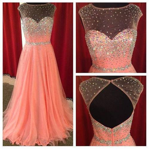 Coral Prom Dresses See Through Neck Tulle New Arrival Girls Party Evening Gowns Sequins Crystals Graduation Dress Backless Prom Gowns