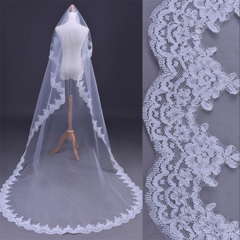 Cathedral Ivory Elegant Lace Edge Long Wedding Veil Accessories 3M long Bride Veils