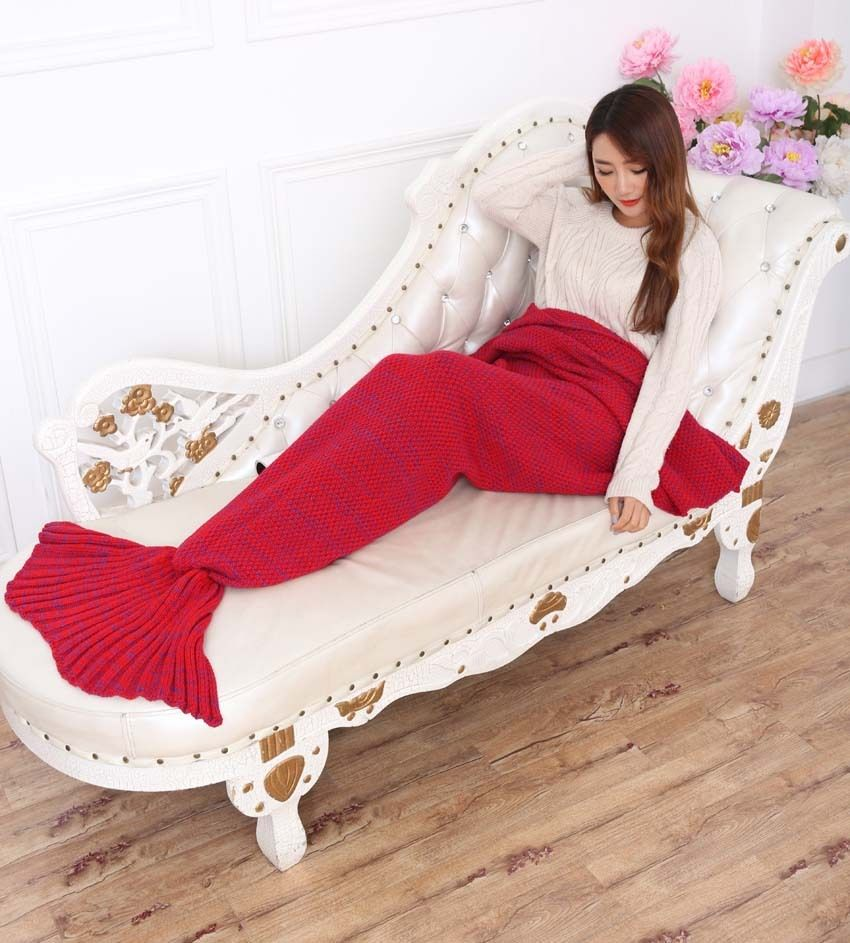 099013e1fb Super Soft Hand Crocheted Mermaid Tail Red Blanket Sleeping Bag Blanket  ADULT 195 85 cm DIY