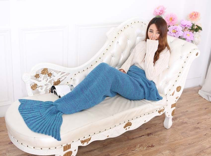 Super Soft Hand-Crocheted Mermaid Tail Blanket Sofa Blanket ADULT 195*85 cm Blue
