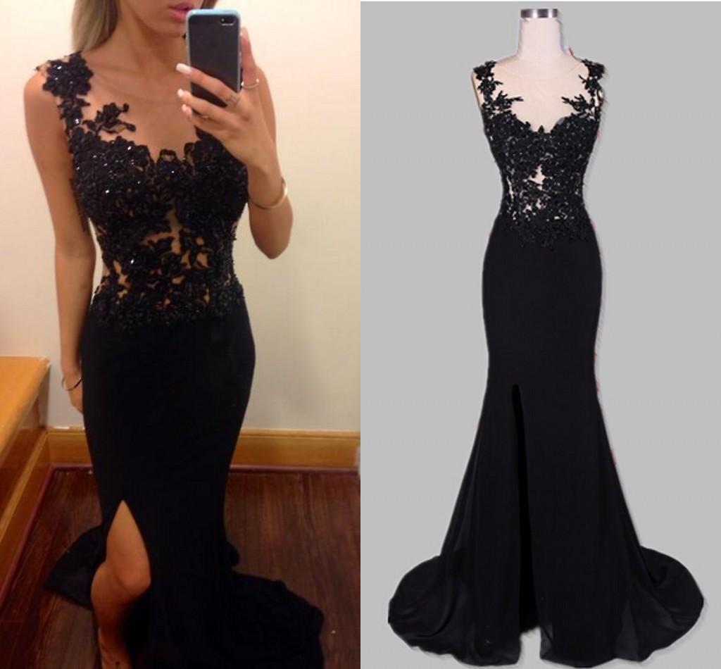 25f470b00f1 Black Sexy Evening Dresses Mermaid Sheer Scoop Appliques Backless Side Slit  Chiffon Long Women Formal party