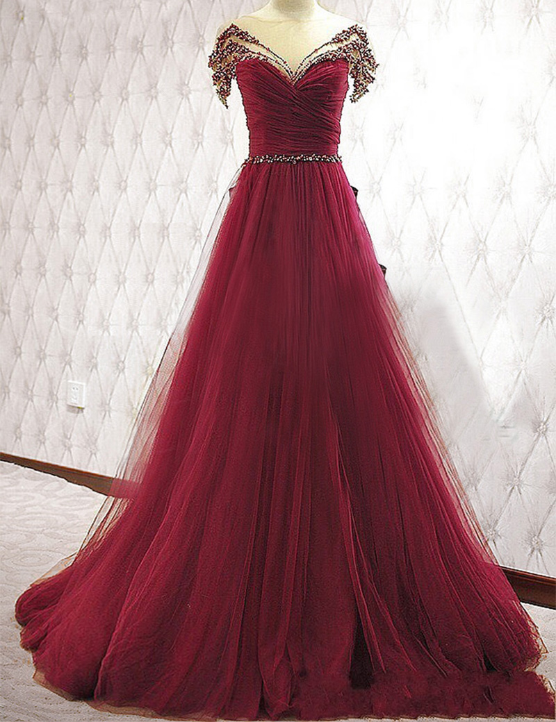 New Arrival Tulle A-line Prom Dresses, Short Sleeves Crystal Floor ...