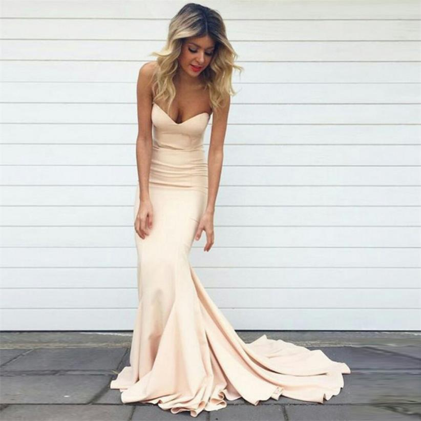 Simple Mermaid Prom Dresses Nude Color Sweetheart Neck Court Train ...