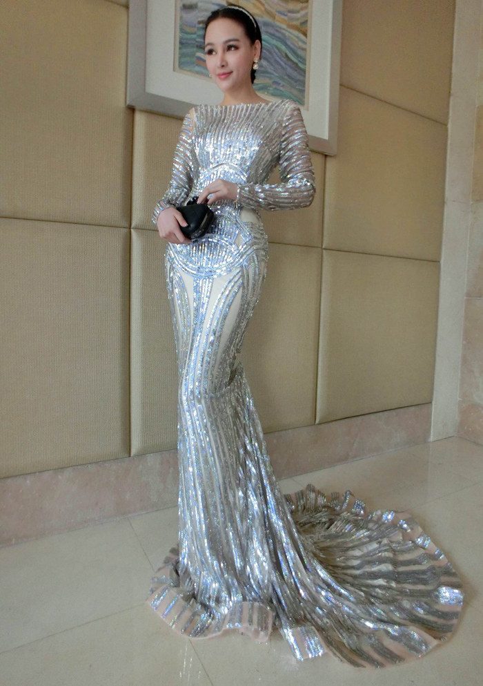 975e1bc9a1 Luxury Silver Mermaid Prom Dresses Long Sleeve Sheer Neck Sequins Court  Train Pageant Gowns Women Evening