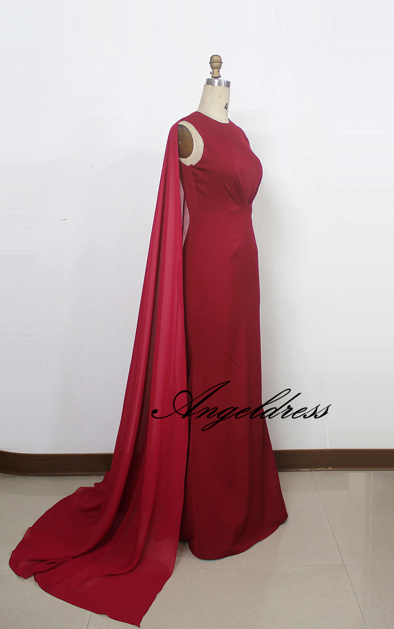 Arabic Design Long Formal Evening Gown Burgundy Mermaid Evening ...