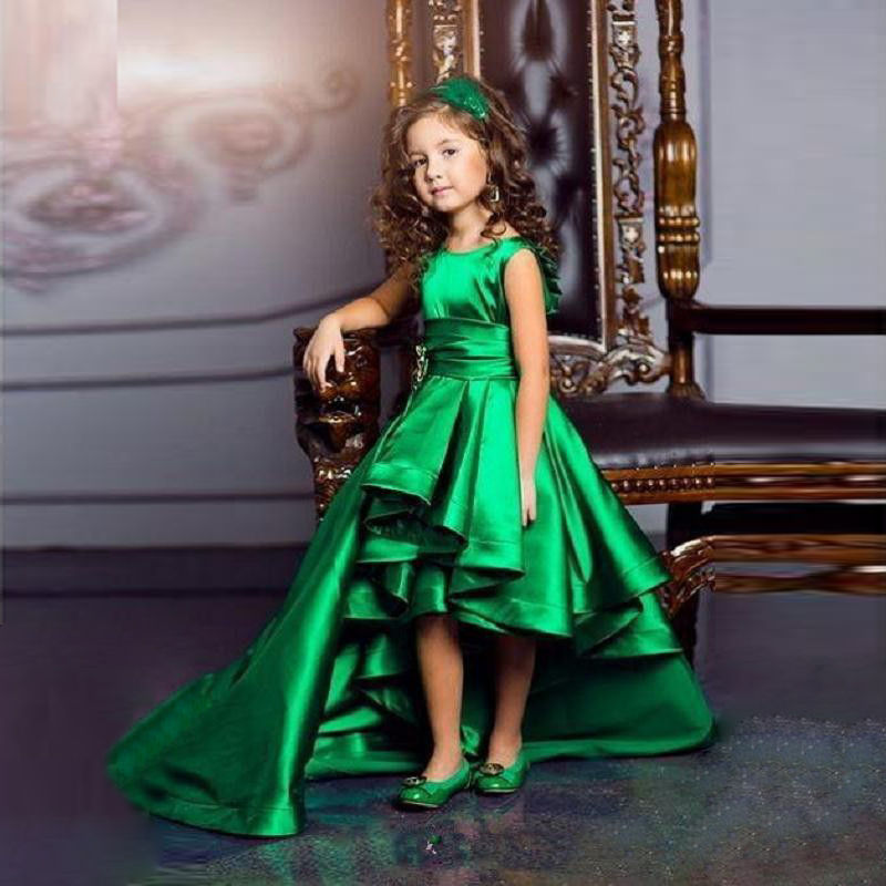 be2c09995b2a Hi Lo Green Girls Pageant Gowns Satin A Line Pleats Sash Flower ...