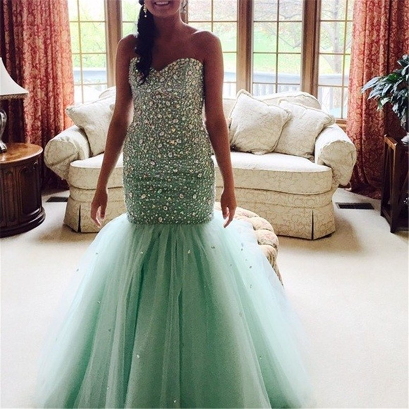 089be9e628f Long 2017 Prom Dress Luxury Crystals Beaded Sequins Sweetheart Princess  Mermaid Evening Party Gowns Green Tulle