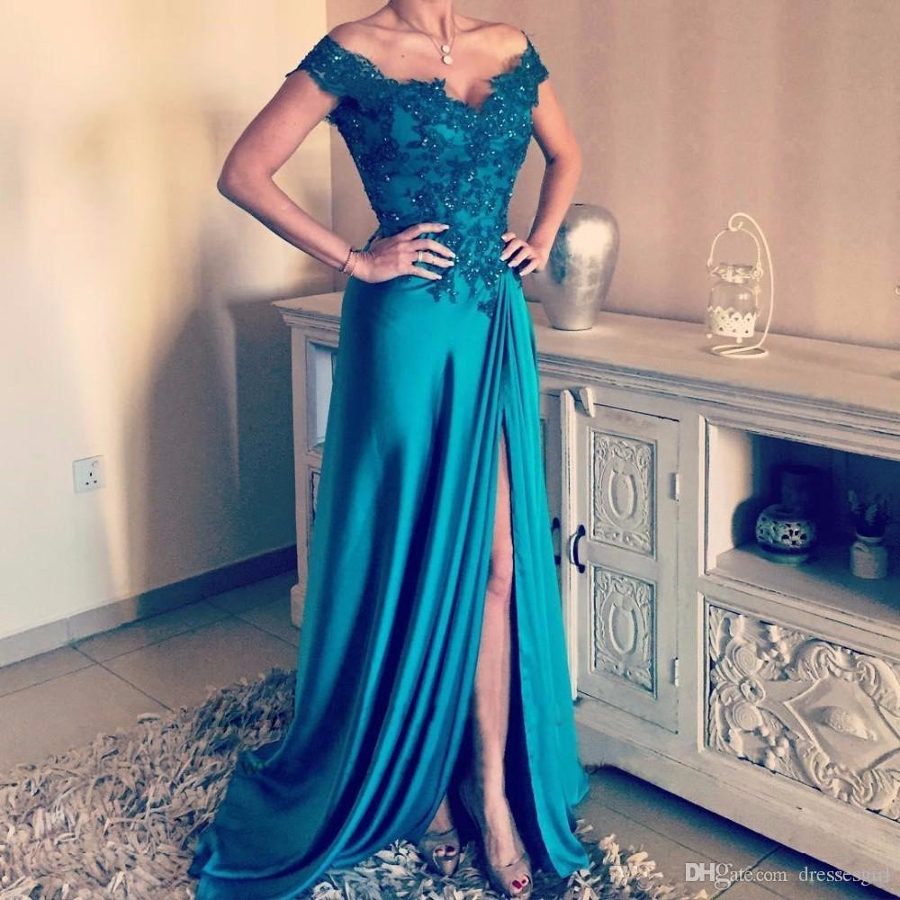 Elegant Long Prom Dresses Off The Shoulder Side Split Elastic Satin ...