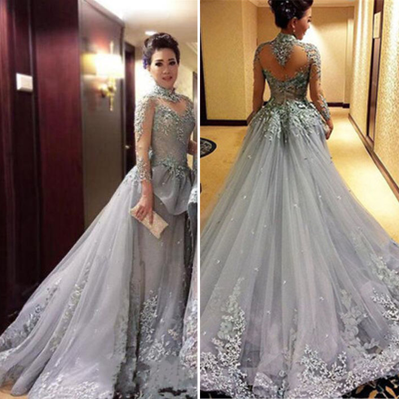 Modest Tulle Appliques High-Neck Long Sleeves Prom Dress 2017 New ...