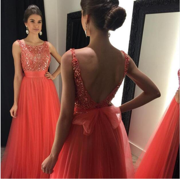 A-line Prom Dresses 2017 Coral Scoop Neck Backless Beads Crystal Tulle Formal Evening Gowns With Sash Party Dress Graduation Gowns