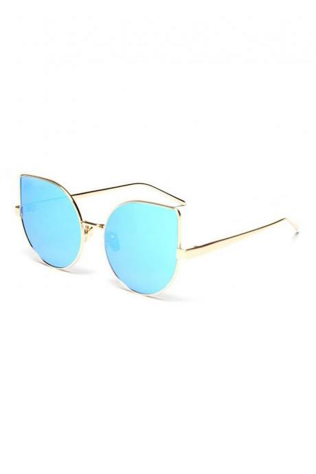 Women Sunglasses New Cat eye Brand Design Mirror Flat Blue Vintage Cateye Fashion sun glasses lady Eyewear