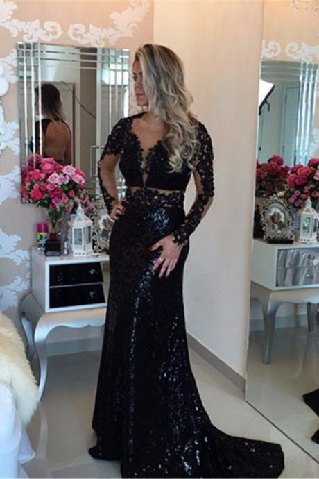 Black Long Sleeve Sequined Lace Evening Dress Popular Open Back Sweep Train Special Prom Dress 2017 Party Dress Formal Dresses