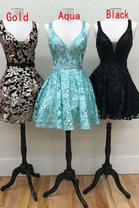 A Line V Neck Short Homecoming Dresses Aqua Black Gold Lace Embroidery 2017 Graduation Party Gowns