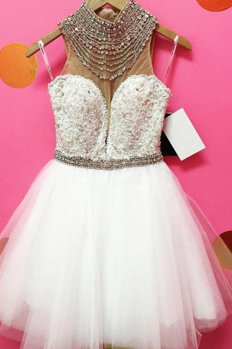 White Short Homecoming Dresses High Neck Beaded Crystals Lace 8th Grade Graduation Party Prom Dress