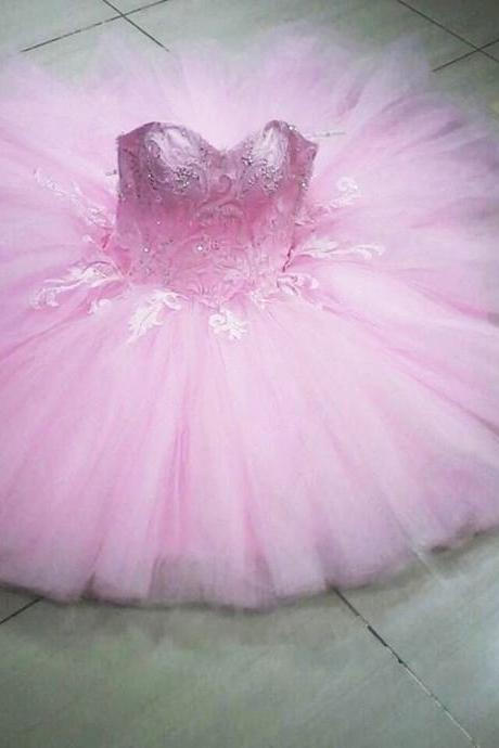 Lace Beaded Sweetheart Pink Tulle Short Prom Homecoming Dresses 2017 New 8th Grade Girls Graduation Party Dress Ball Gown