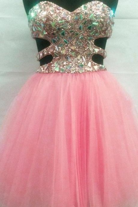 Rhinestone And Sequins Beaded Sweetheart Tulle Pink Homecoming Dresses Short 2017 Girls Prom Party Dress Gowns